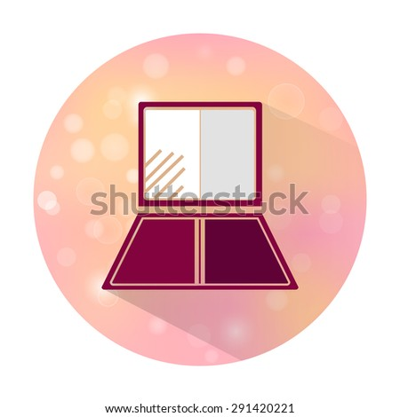 Vector stylish flat icon with long shadow effect of beauty and cosmetic on blurred background. Eye shadow. - stock vector
