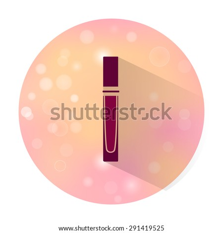 Vector stylish flat icon with long shadow effect of beauty and cosmetic on blurred background. Lip gloss - stock vector