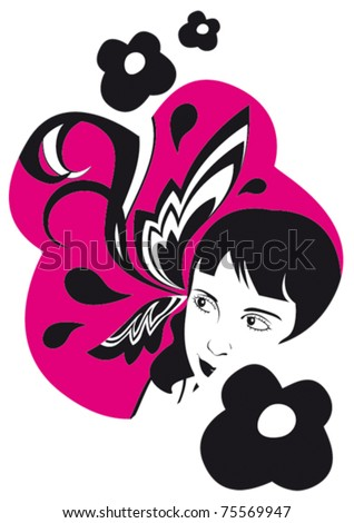 vector stylish girl with flower - stock vector