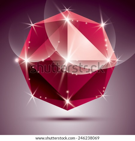 Vector stylish illustration, shiny ruby effect, eps10. Celebration 3D red glossy ball. - stock vector
