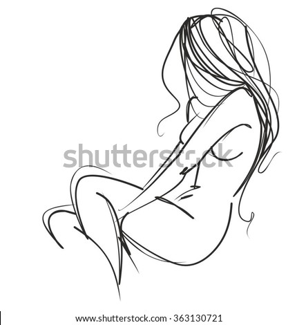VECTOR  stylish original hand-drawn graphic with beautiful young girl model for design. Fashion, style, youth, fitness, sports, beauty. Graphic, sketch, drawing. Sexy body.  - stock vector
