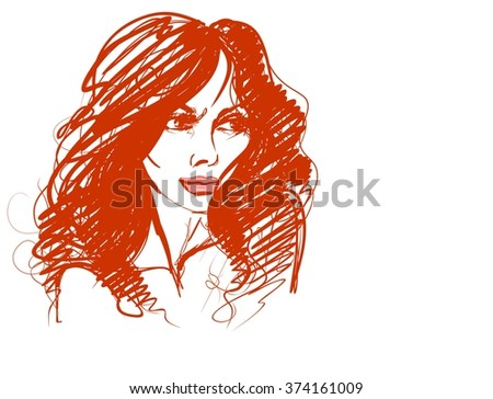 VECTOR  stylish  original hand-drawn graphics portrait  with beautiful young attractive girl model for design. Fashion, style,    beauty . Graphic, sketch drawing. Sexy  woman