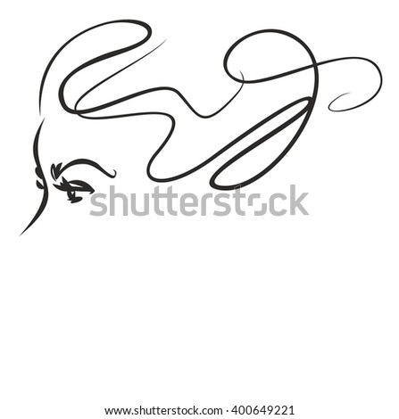 VECTOR  stylish  original hand-drawn graphics portrait  with beautiful young attractive girl model for design. Fashion, style,    beauty . Graphic, sketch drawing. Sexy  woman  - stock vector