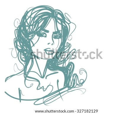 VECTOR stylish original hand-drawn graphics portrait with beautiful young attractive girl model for design. Fashion, style, beauty. Graphic, sketch drawing. - stock vector
