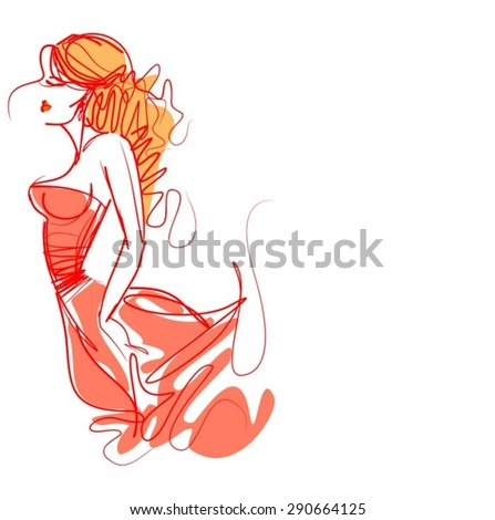 VECTOR  stylish  original hand-drawn graphics with beautiful young attractive girl model for design. Fashion, style, youth, fitness, sports, beauty, advertising. Graphic, sketch drawing. Sexy body.  - stock vector