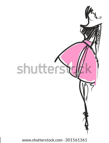 VECTOR  stylish  original hand-drawn graphics with beautiful young attractive girl model for design. Fashion, style,  beauty, advertising. Graphic, sketch drawing. Sexy woman
