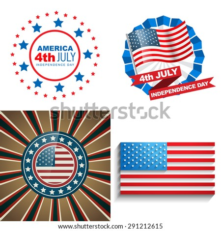 vector stylish set of 4th july american independence day background illustration  - stock vector