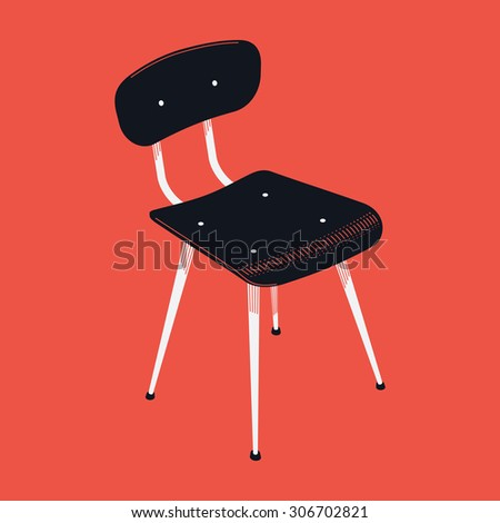 Vector stylish vintage industrial age chair | Interior furniture element black stool isolated on red background - stock vector