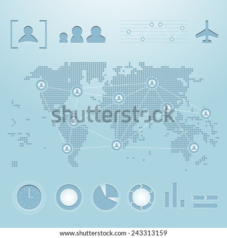 Vector stylized and embossed dotted world map with infographics elements - stock vector
