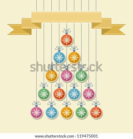 Vector stylized christmas tree made from color balls with snowflake and gold banner. Original invitation and greeting card with text box. Vintage simple background. Abstract decorative illustration