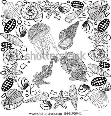 Vector Stylized Composition Of Tropical Fish Seahorse Jellyfish Shell Underwater Corals