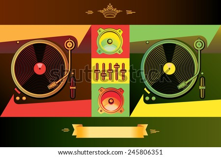 Vector stylized dj's turntables in reggae colors - stock vector