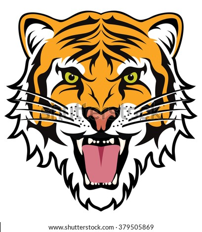 vector stylized face of angry tiger  - stock vector