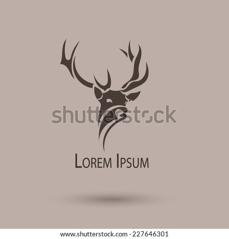 Vector stylized head of a deer. Abstract art shape - stock vector