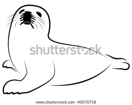 Vector stylized illustration of baby harp seal. - stock vector