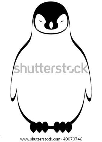 Vector stylized illustration of cute cartoon penguin. - stock vector