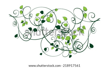 Vector stylized image of a tree branch with leaves - stock vector
