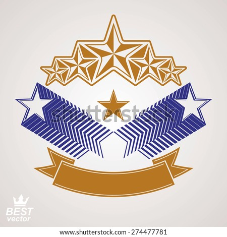 Vector stylized royal symbol. Aristocratic graphic emblem with five pentagonal stars and wavy band, celebrative eps8 template. Corporate brand icon, award concept theme design element.