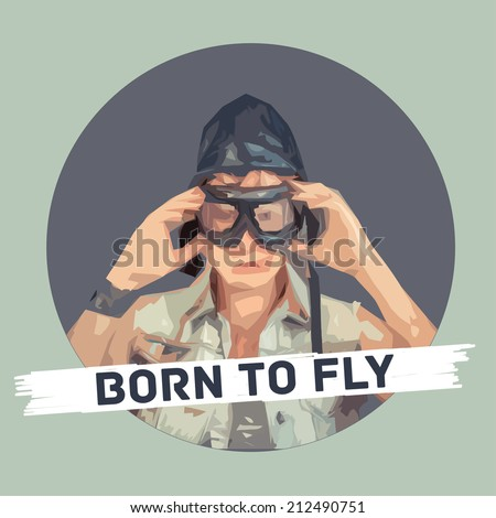 vector stylized satirical portrait, Fighter pilot with hat and glasses