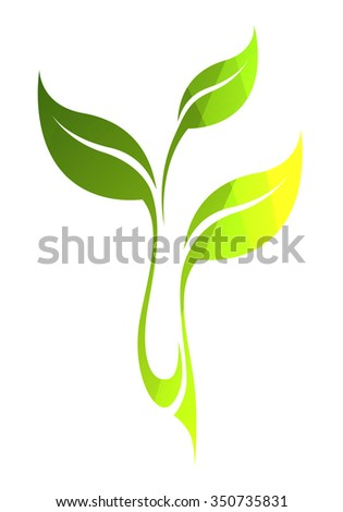 Vector stylized silhouette of spring green tree leaf isolated on white background. Eco sign, nature label. Decorative element for medical, nutrition, ecological brands. - stock vector
