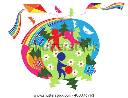 Vector stylized silhouettes of children, playing on a green glade - stock vector