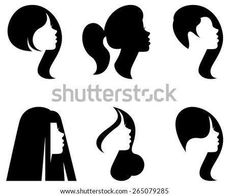 Vector stylized silhouettes of women's heads in profile with different hairstyles/Vector silhouettes of heads of women with different hairstyles/Vector illustration of silhouette portrait of women - stock vector