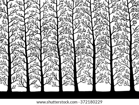 Vector. Stylized tree, Silhouettes of trees , seamless texture with trees