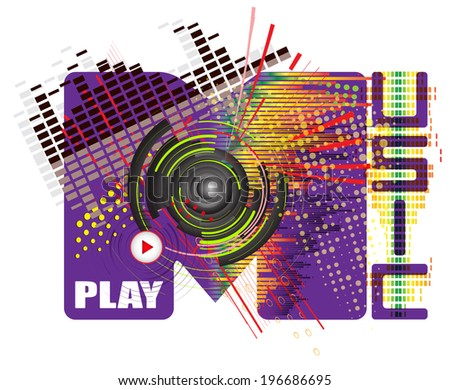 vector stylized word with music abstract colored background of the dance style
