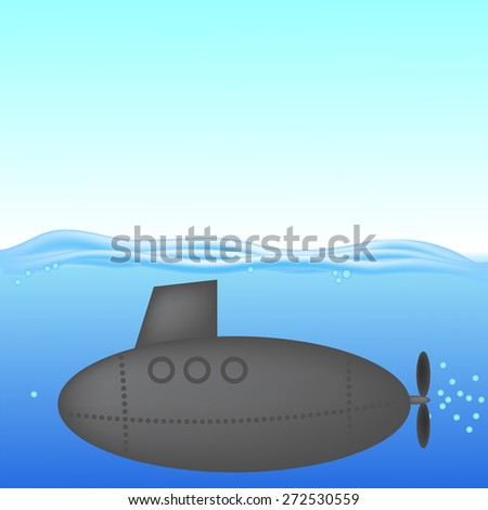 Vector Submarine under Water. The Military Ship in the Sea - stock vector