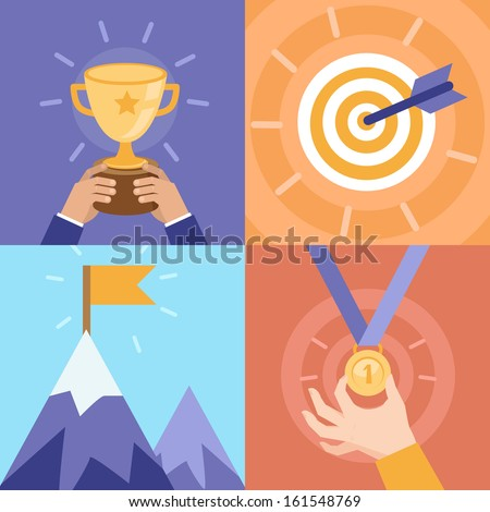 Vector success concepts - bowl, goal, medal, summit - icons and illustrations in flat style - stock vector