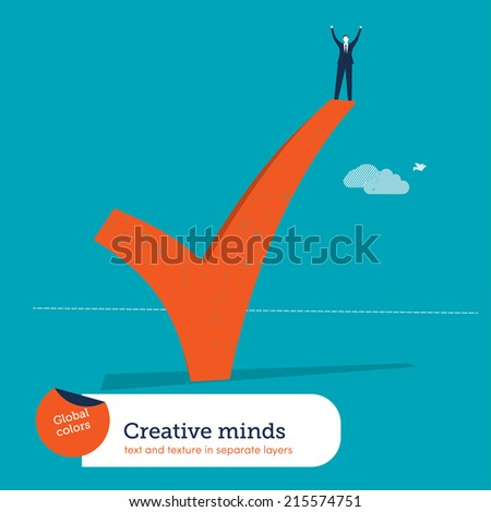 Vector successful man standing on ok sign. Vector illustration Eps10 file. Global colors. Text and Texture in separate layers. - stock vector