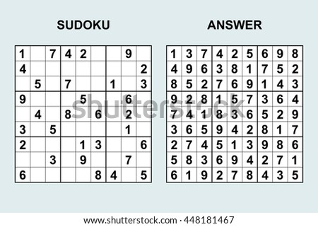 vector sudoku answer puzzle game numbersのベクター画像素材 448181467
