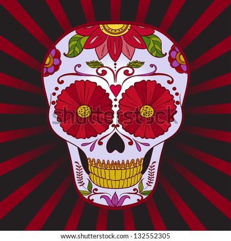 Vector Sugar Skull. Dia De los Muertos. Halloween - stock vector