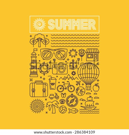 Vector summer and vacation poster or print for t-shirt in trend linear style on yellow background - illustration with icons and sign - stock vector