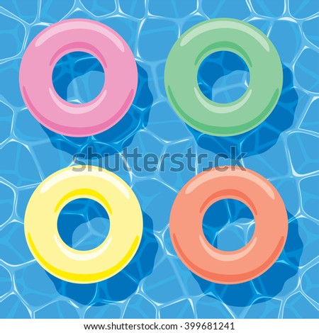 vector summer background with inflatable rings floating on water - stock vector