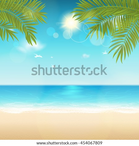 Vector summer background with space for text. Blur effect. Easy editable - all elements are separated. File contains clipping mask. - stock vector