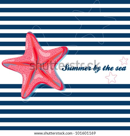 Vector summer background with starfish - stock vector
