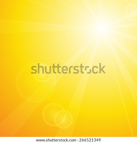 Vector : Summer background with sun and lens flare