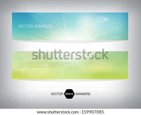Vector summer banners with soft blurry bokeh background and bright sun.  - stock vector