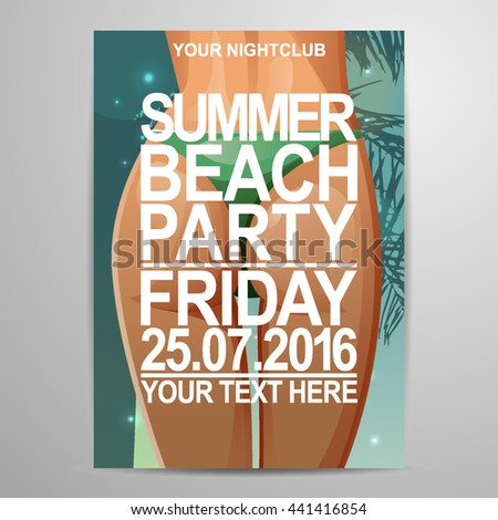 vector summer beach party flier design stock vector 441416854