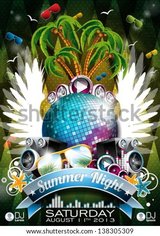 Vector Summer Beach Party Flyer Design with disco ball and wings on green background. Eps10 illustration. - stock vector