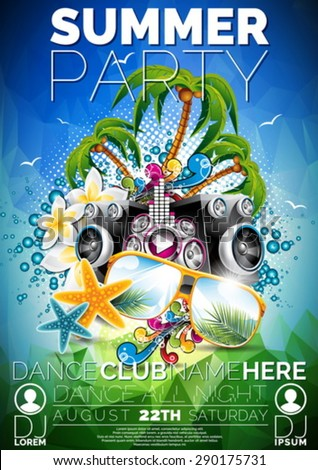 Vector Summer Beach Party Flyer Design with speakers and sunglasses on blue background. Eps10 illustration. - stock vector