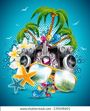 Vector Summer Beach Party Flyer Design with sunglasses and starfish on blue background. Eps10 illustration. - stock vector