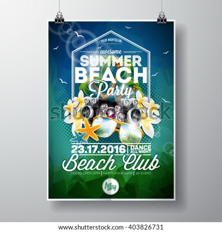 Vector Summer Beach Party Flyer Design with typographic and music elements on abstract background. Eps10 illustration. - stock vector