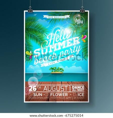 Flyer Designen Len | Vector Summer Beach Party Flyer Design Stock Vector 675275014