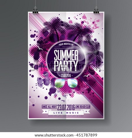 Vector Summer Beach Party Flyer Design with typographic  elements on abstract background. Palm trees and sunglasses. Eps10 illustration. - stock vector