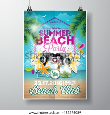 Vector Summer Beach Party Flyer Design with typographic elements on ocean landscape background. Summer nature floral elements, palm leaves and sunglasses. Eps10 illustration. - stock vector