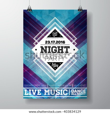 Vector Summer Beach Party Flyer poster template on  abstract background. Eps 10 illustration. - stock vector