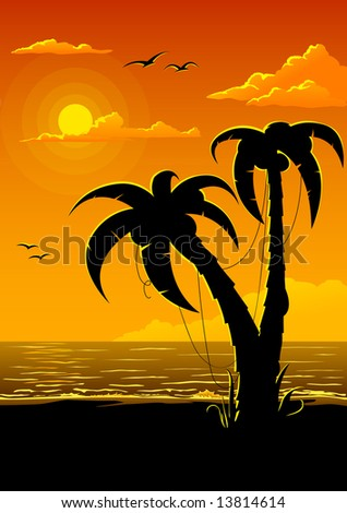 vector summer beach with sea sun and palm tree illustration