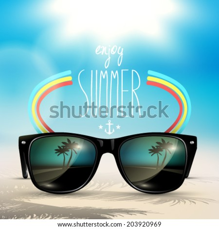Vector summer blurred beach, with sunglasses, background illustration - stock vector